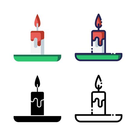 Candle Light Icon Set Logo Winter Holidays. filled outline, line, glyph, flat icons Иллюстрация