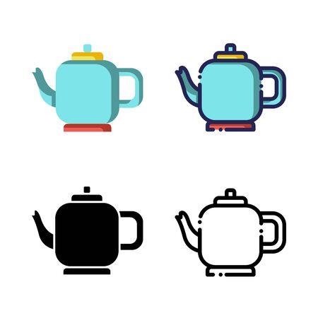 Tea Kettle Icon Set Logo Winter. filled outline, line, glyph, flat icons Archivio Fotografico - 138190934