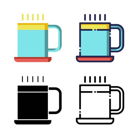 Glass Coffee Icon Set Logo Winter Holidays. filled outline, line, glyph, flat icons