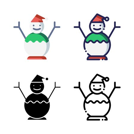Snowman Icon Set Logo Winter. filled outline, line, glyph, flat icons
