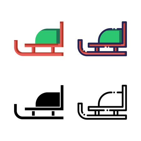Sled Sleigh Icon Set Logo Winter Holidays. filled outline, line, glyph, flat icons Illustration