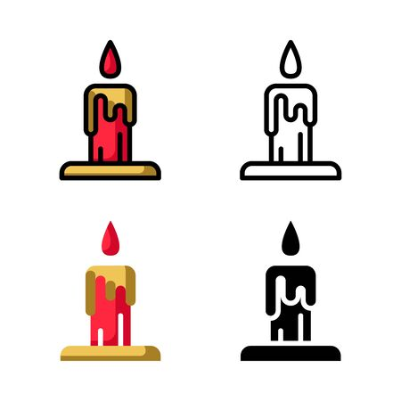Red candle Icon Set Vector Illustration with 4 style: Filled Outline Color, Outline, Flat Color and Glyph Иллюстрация