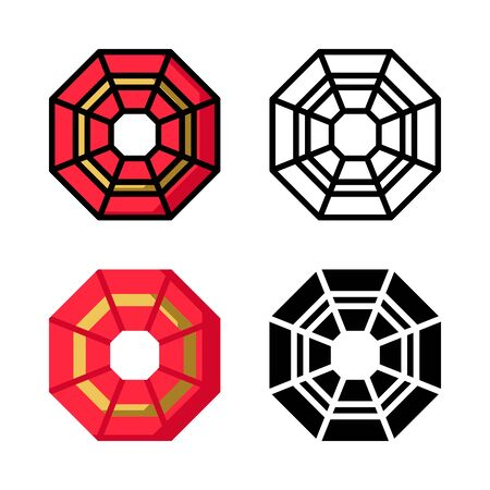 Chinese taoism Icon Set Vector Illustration with 4 style: Filled Outline Color, Outline, Flat Color and Glyph Ilustrace