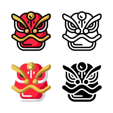 Barongsai Dragon Mask Icon Set Vector Illustration with 4 style: Filled Outline Color, Outline, Flat Color and Glyph