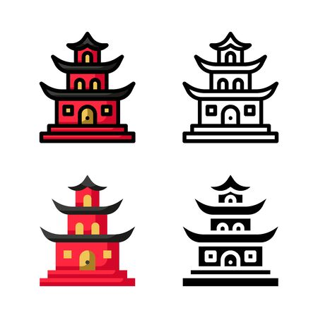 Chinese Temple Icon Set Vector Illustration with 4 style: Filled Outline Color, Outline, Flat Color and Glyph