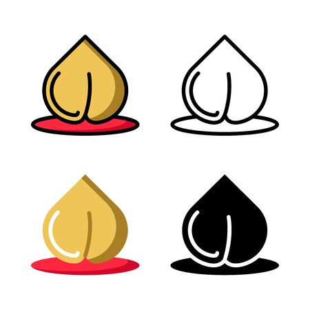 Chinese Peach Icon Set Vector Illustration with 4 style: Filled Outline Color, Outline, Flat Color and Glyph