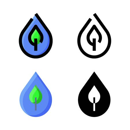 Nature Water Icon Set Logo Vector Illustration with 4 style: Filled Outline Color, Outline, Flat Color and Glyph