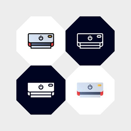 Smart Air Conditioning Icon  Vector Illustration. with four styles, outline, filled outline, flat and glyph. template for website and company