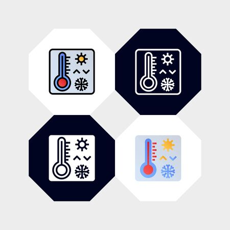 Smart Termometer Icon  Vector Illustration. with four styles, outline, filled outline, flat and glyph. template for website and company