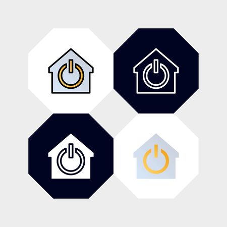 Smarthome Button Icon  Vector Illustration. with four styles, outline, filled outline, flat and glyph. template for website and company