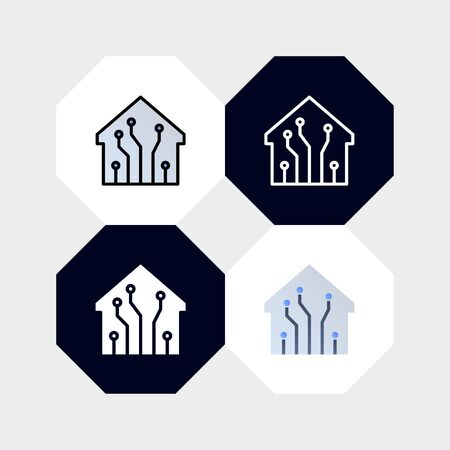 Smarthome Digital Technology Icon  Vector Illustration. with four styles, outline, filled outline, flat and glyph. template for website and company
