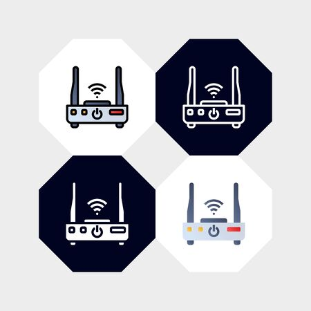 Smart Wifi Router Icon  Vector Illustration. with four styles, outline, filled outline, flat and glyph. template for website and company Ilustrace