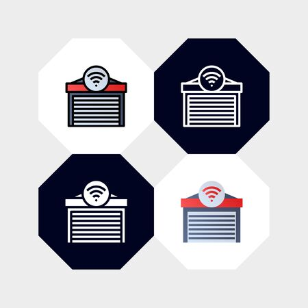 Smart Garage Icon  Vector Illustration. with four styles, outline, filled outline, flat and glyph. template for website and company