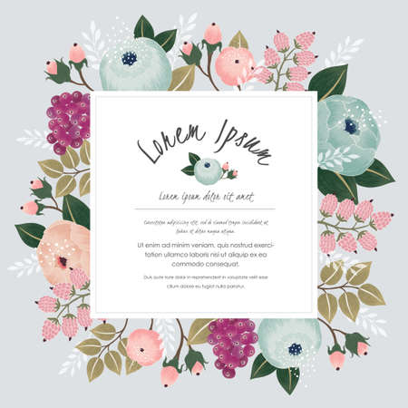 Vector illustration of a beautiful floral frame with flowers for wedding invitations and birthday cards