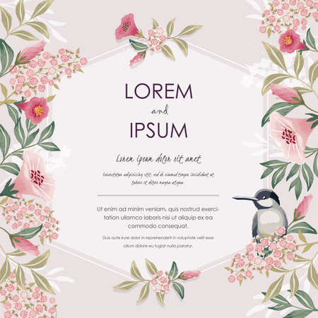 Vector illustration with a cute bird on a floral branch in spring for Wedding, anniversary, birthday and party. Design for banner, poster, card, invitation and scrapbook