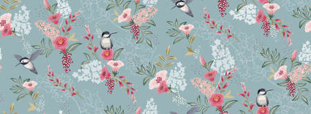 Vector illustration of a seamless floral pattern with cute birds in spring for Wedding, anniversary, birthday and party. Design for banner, poster, card, invitation and scrapbook Vetores
