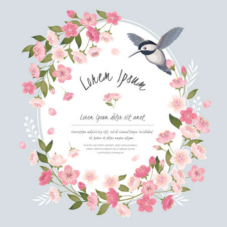 Vector illustration of a beautiful floral frame with cherry blossom and a little bird in spring for Wedding, anniversary, birthday and party. Design for banner, poster, card, invitation and scrapbook