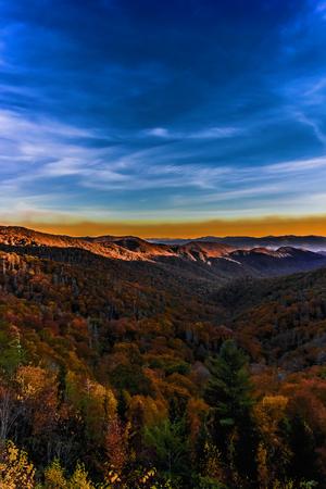 tennesse: Hermosa puesta de sol en las Grandes Monta�as Humeantes, Tennessee