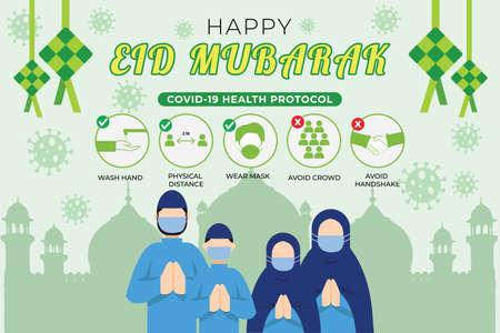 Illustration of Covid 19 Health Protocol at Eid Mubarak Celebration