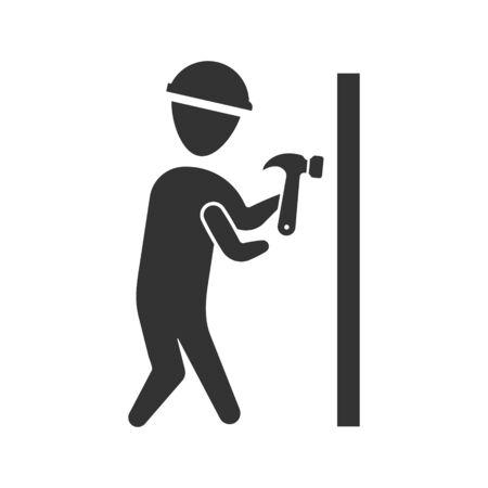 Hammer knocking icon Çizim