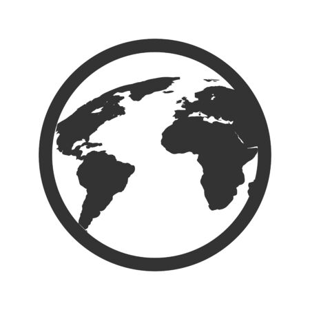 Global communication icon, world map vector