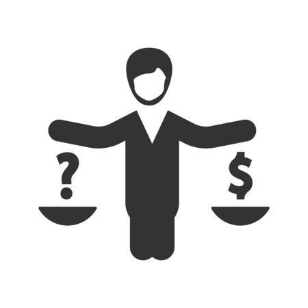 Business Law, Currency balance icon Vettoriali