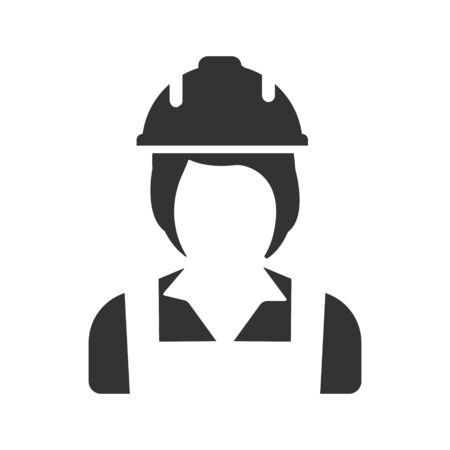 Worker icon, Woman Worker With Hard Hat vector