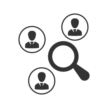 Marketing research, seo monitoring icon, Magnifying glass analyzing data icon