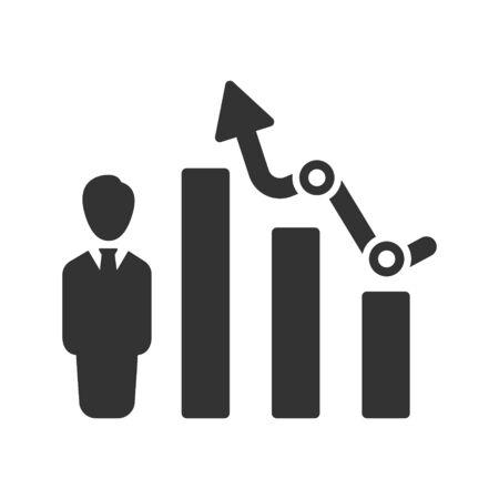 Financial progress, growing report icon, Trending Arrow Outline Icon