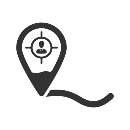 Business Location Icon, Business network, Business direction icon, User in a pin vector Vettoriali