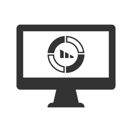 Online statistics report, pie chart icon Vettoriali
