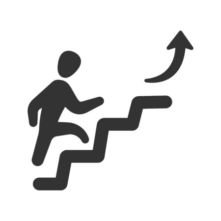 Business Achievement Icon, businessman walks up the stairs icon Vettoriali