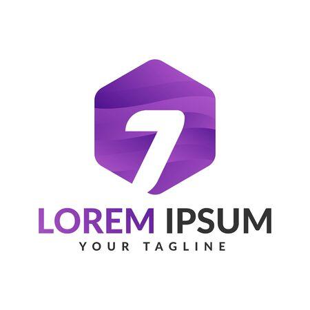 Seven logo design, 7 number logo.