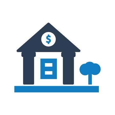 Bank money icon, Bank building vector Vettoriali