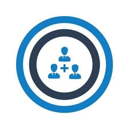 Target customer, teamwork aim icon