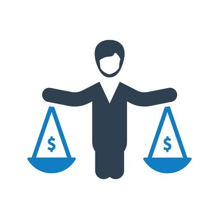 Business Law Icon, Business law, decision, balance icon Vettoriali