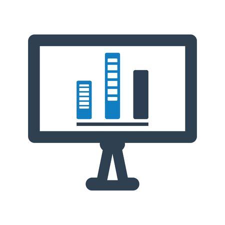 Presenting statistics report, bar chart icon