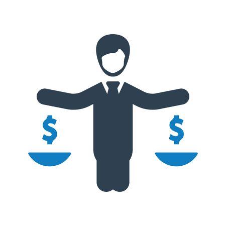Business law, decision, balance icon