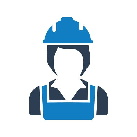 Construction woman worker icon
