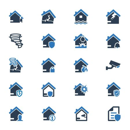 Property insurance icons set 01 Vettoriali