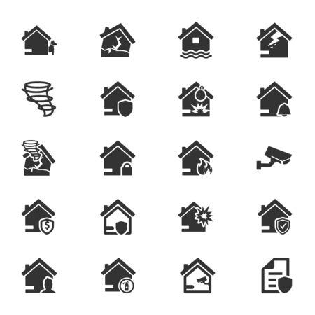 Property insurance icons set 02
