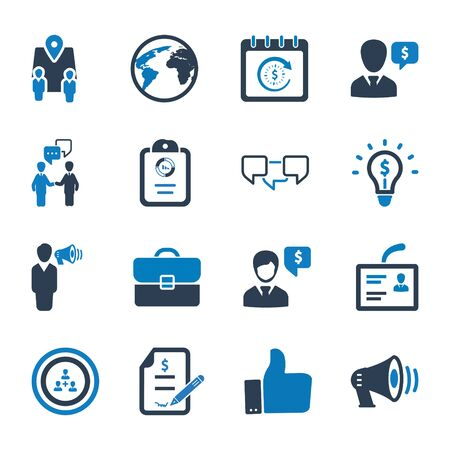 Business and management icons set 03 Vettoriali