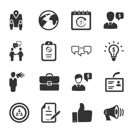 Business and management black icons set 02 Vettoriali