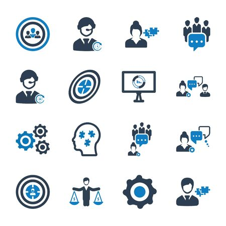 Business and management icons set 02
