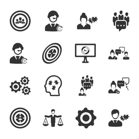 Business and management black icons set 01