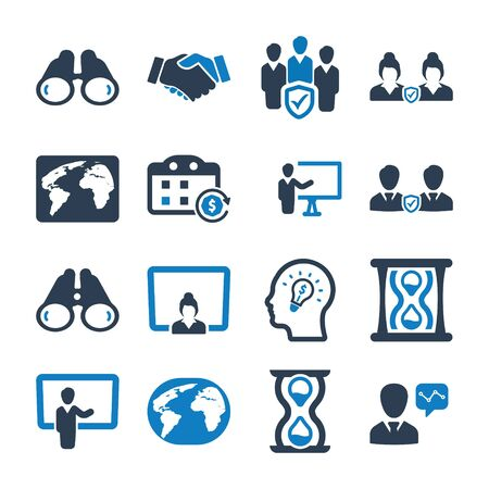 Business and management black icons set Vettoriali