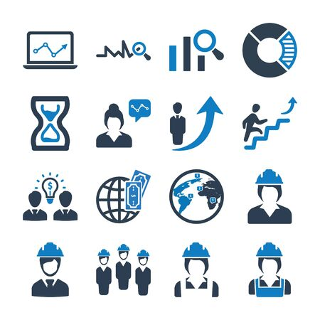 Business and management icons set 06