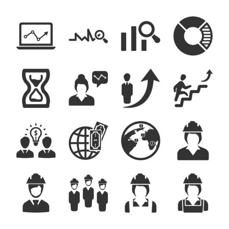 Business and management black icons set 07