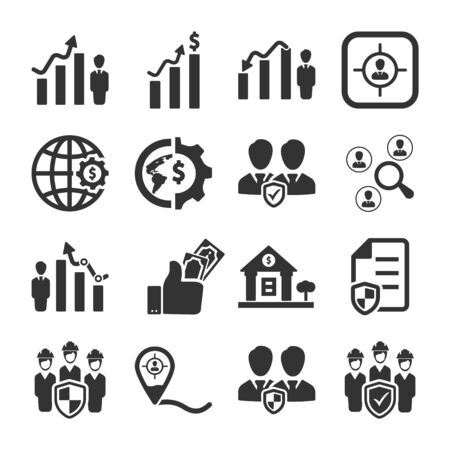 Business and management black icons set 06