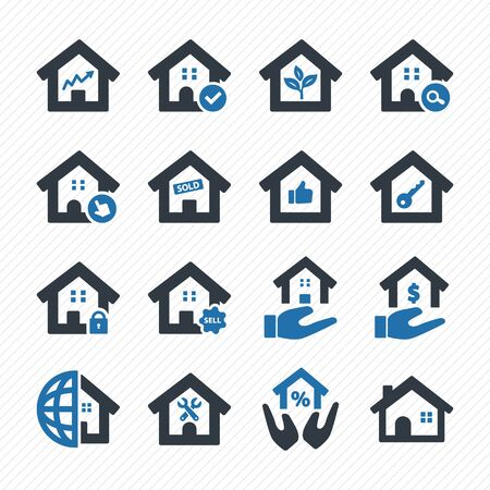 Real estate icons set. Purchase and sale of housing icons.
